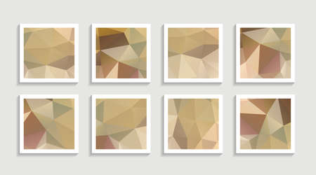Modern mosaic low poly artwork poster set with simple shape and figure. Abstract minimalist pattern design style for web, banner, business presentation, branding package, fabric print, wallpaper. Vector illustration. Vektorgrafik