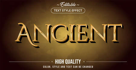 Editable text style effect - Ancient theme style. Graphic design element.