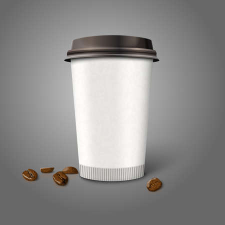 Blank realistic vector paper coffee cup -Coffee to go- with coffee beans, isolated on grey background. With place for your design and branding. Vector illustration. Graphic design element. Vecteurs