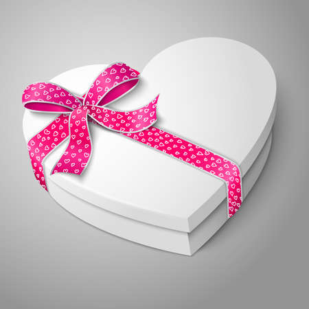 Vector realistic blank white heart shape box with pink and white ribbon and bow-knot isolated on gray background. For your valentines day or love presents design. Vector illustration