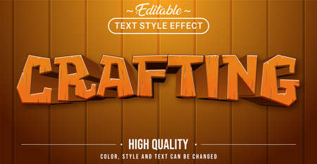 Editable text style effect - Crafting theme style. Graphic design element. Stock Illustratie