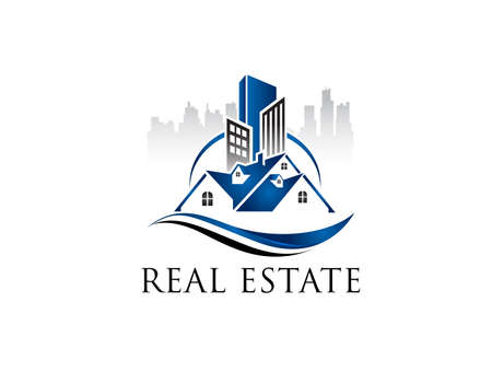 Modern real estate logo design illustration. Graphic design element. Illusztráció