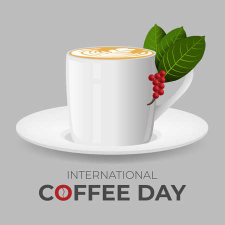 International day of coffee with splash coffee and smoke on cup illustration. Graphic design element.