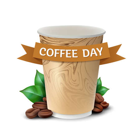 Paper cup of coffee with leaves and beans concept to International Coffee Day celebrating. Vector illustration isolated on white background