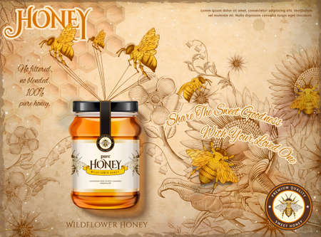 Wildflower honey ads, honey bees carrying honey glass jar in 3d illustration, retro flowers garden and bees background in etching shading style, beige tone Vecteurs