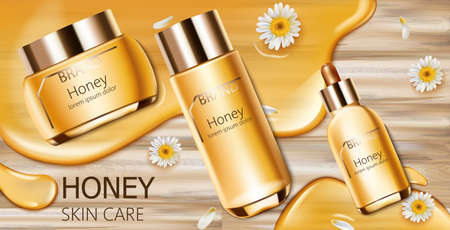 Set of honey cosmetic with cream, facial essence and spray bottle. Wood background. Mockup realistic Vector