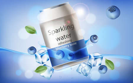 Can of refreshing sparkling water with blueberry taste submerged in water with ice cubes, mint leaves and berries. 3D mockup with product placement. Realistic Vector