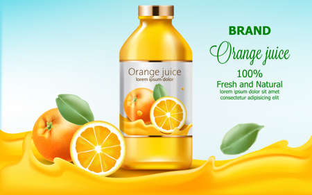 Bottle with fresh and natural juice submerged in flowing orange extract. 3D mockup with product placement. Realistic Vector