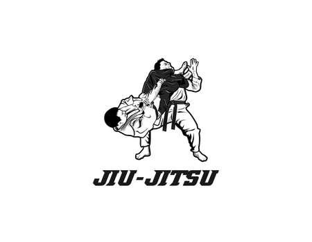 martial arts jiu jitsu design illustration. Graphic design element. Illustration