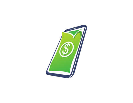 Making money from the phone symbol design. Graphic design element.