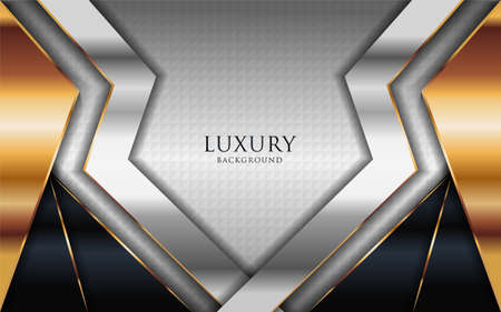 Luxury shinny silver background combine with golden lines element. Graphic design element. Vettoriali