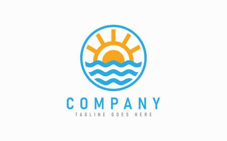 Sun and Wave Logo Design. Nautical Logo Design with Sun and Wave Combination in the Circle Symbol Design