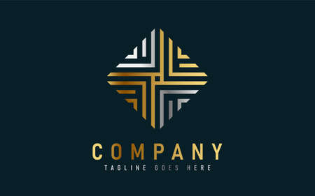Luxury Gold and Silver Square Geometric Logo Design. Usable For Business, Community, Industrial, Foundation, Security, Tech, Services Company. Vector Logo Design Illustration. Graphic Design Element.
