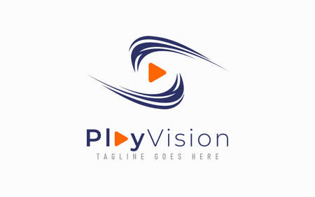Play Vision Logo Design. Abstract Eye Vision Combine with Play Symbol. Usable For Business, Community, Industrial, Security, Tech, Services Company. Graphic Design Element.