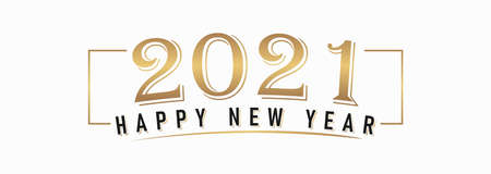 Happy New Year 2021 Lettering Calligraphy with Gold Text Color, isolated on White Background. Vector Graphic Illustration for Greeting Cards, Web, Presentation. Graphic Design Element. Illustration