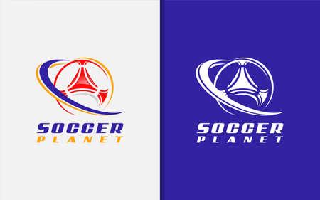 Soccer Planet Logo Design. Abstract Soccer Ball Combine With Geometric Shape Lines. Sport Vector Logo Illustration. Graphic Design Element. Logo