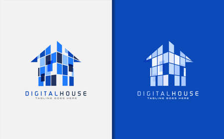 Creative Digital Blue House Logo Design. Usable for Business Brand, Tech and Company. Vector Logo Illustration. Graphic Design Element.