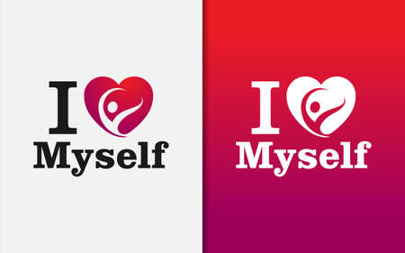 Creative Love Myself Graphic Design Template. Love Symbol with Happiness People Inside. Vector Graphic Illustration.