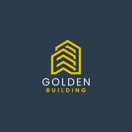 Abstract Building with Yellow Geometric Lines Logo Design. Architecture and Building Vector Logo Illustration. Graphic Design Element. Logó