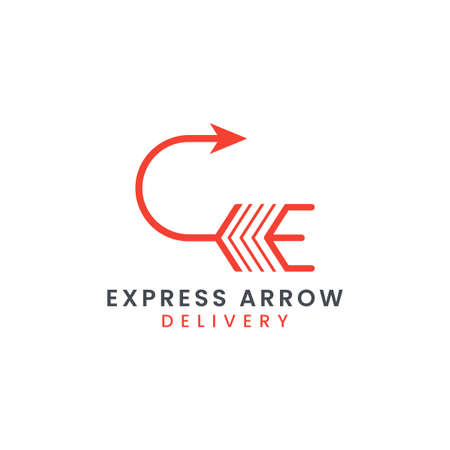 Abstract Initial Letter E with Arrow Concept Combination Logo Design. Usable For Business Brand, Tech and Delivery Company. Vector Logo Illustration. Graphic Design Element. Logo