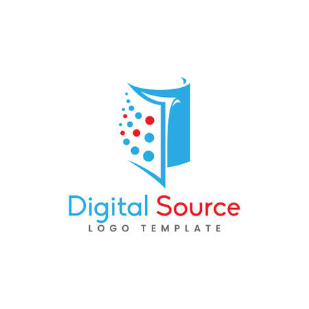 Abstract Book Silhouette Combination with Dot As The Digital Source Concept Logo Design. Graphic Design Element.