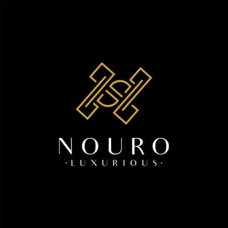 Luxury Initial Letter N Logo Design with Modern Golden Lines Shape Combination. Monogram Logo Illustration. Graphic Design Element.