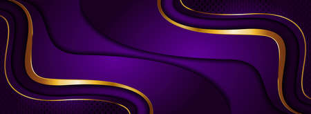 Luxury Purple Background Design Combined with Golden Lines Element. Graphic Design Element.