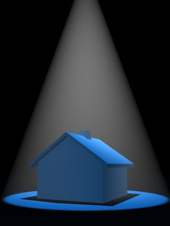 Blue schematic house in the spot light photo