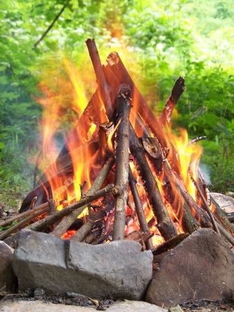 bivouac: Wood sticks covered with flames in cone shape campfire