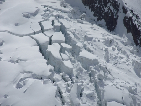 foundation cracks: Mont Blanc basis covered with seracs and ice cracks Stock Photo