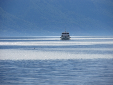 swimm: Ship running through Lac Leman near Montreux in Switzerland