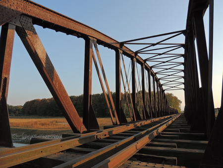 rust covered: Old, closed railway bridge covered with rust Stock Photo
