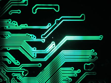 printed: Green glowing patterns of a printed circuit board