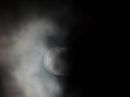 Moon on cloudy weather reminding eclipse and phasing