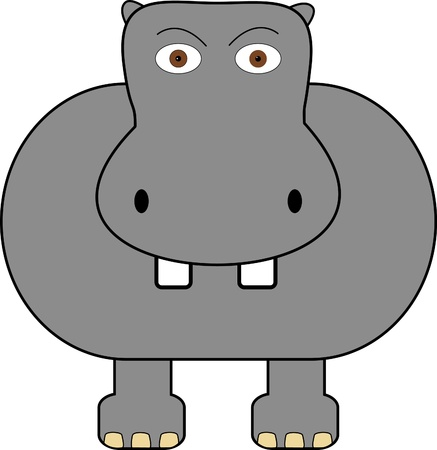 hippo cartoon: A cartoon hippo on a plain white background Stock Photo