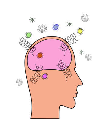 brain clipart: A side view of a human head showing brain exploding or damaged