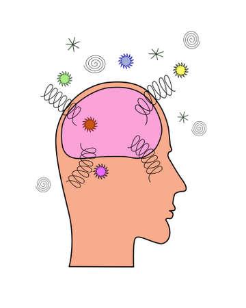 enfermedades mentales: Una vista lateral de una cabeza humana que muestra la explosi�n cerebro o da�ado
