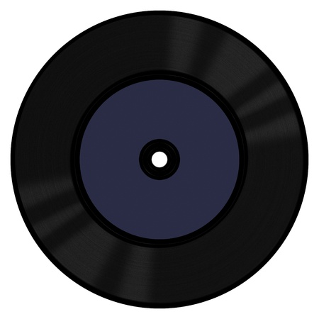 A 45 RPM vinyl record with a blank label photo