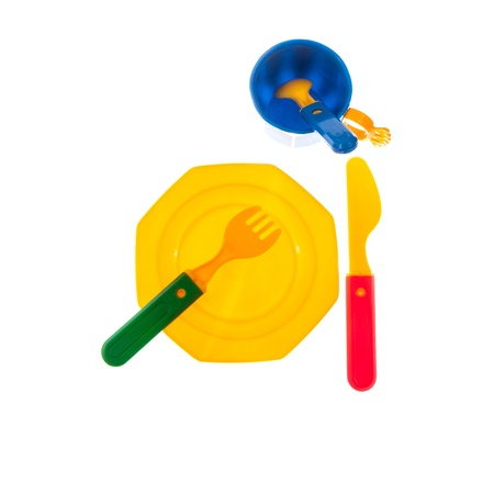 Plastic dishes Stock Photo