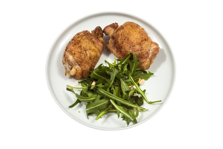 part frog: Roast Chicken with rucola  Stock Photo