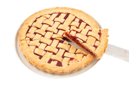 Slice of a homemade raspberry pie on a plate with knife Stock Photo - 13222817