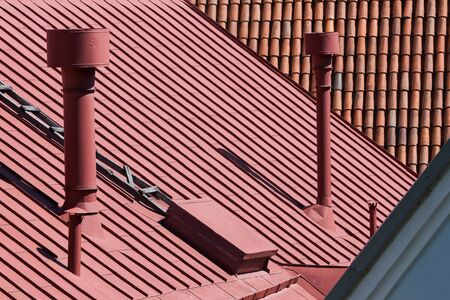 Old roofs and chimney photo