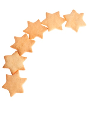 Star shape homemade cookies isolated on white background photo