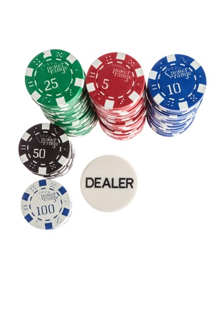 Casino chips and dealer isolated over white background photo