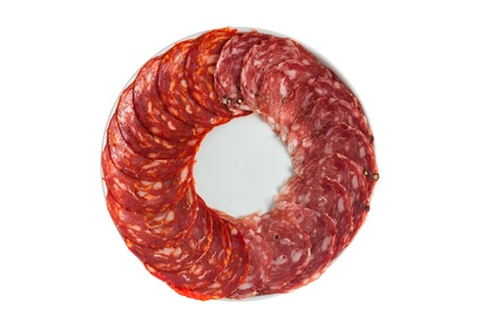 Chorizo, salchichon sausage on a plate isolated over white background Stock Photo - 13626405