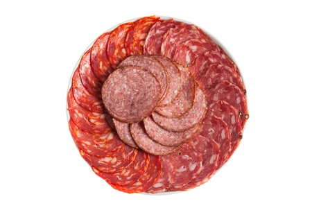 Chorizo, salchichon, salami sausage on a plate isolated over white background 3 photo