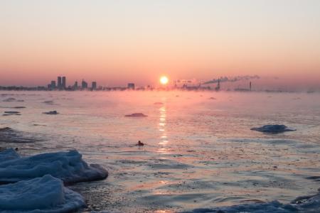 effect sunset: Winter sea  Stock Photo