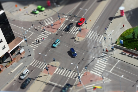 City with traffic and pedestrians