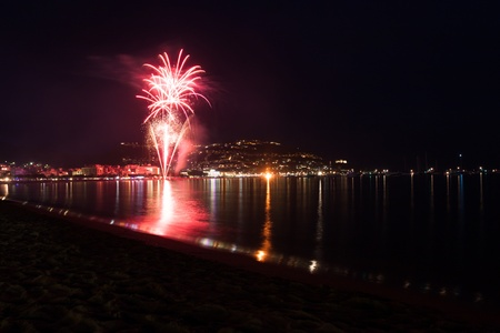 Haliday fireworks salute at night  near sea beach Stock Photo - 14268456