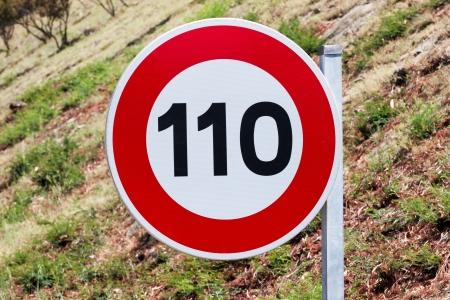 Speed limit traffic sign 110 kilometers per hour Stock Photo - 14294141